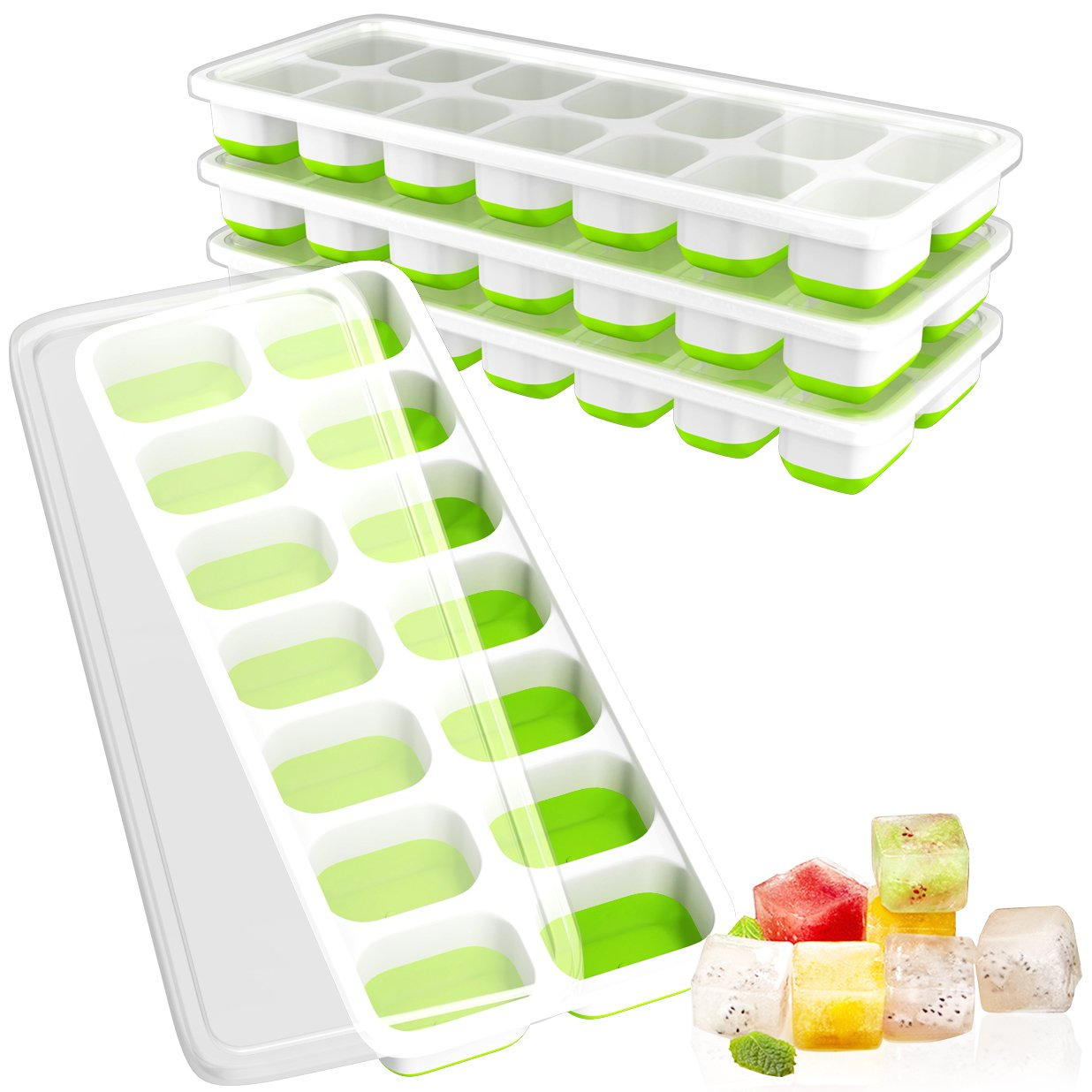 Ouddy 4 Pack Ice Cube Trays with Lid, Easy-Release Ice Cube Molds, 14-Silicone Ice Trays can Make 56 Ice Cubes, BPA Free Nontoxic and Safe, Stackable Durable and Dishwasher Safe(Green) DDD-026-2