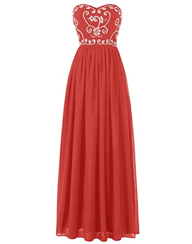 BeryLove Women's Strapless Beaded Embroidery Ruched Long Chiffon Prom Dress