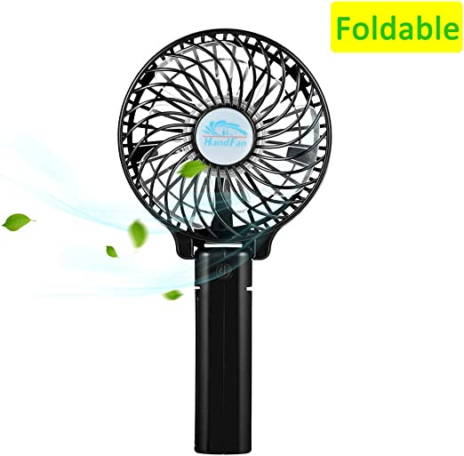 Black Mini Handheld Fan Foldable Personal Portable Desk Desktop Table Cooling Fan with USB Rechargeable Battery Multifunctional Fan