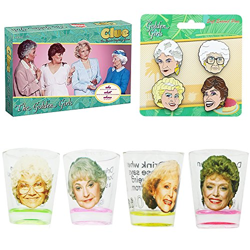 The Golden Girls Clue Board Game, Shot Glass 4-Pack and Enamel Pins Bundle by JUST FUNKY