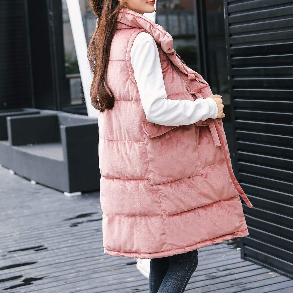 Womens Solid Warm Stand Collar Jacket Slim Button Winter Parka Outwear Coat Vest