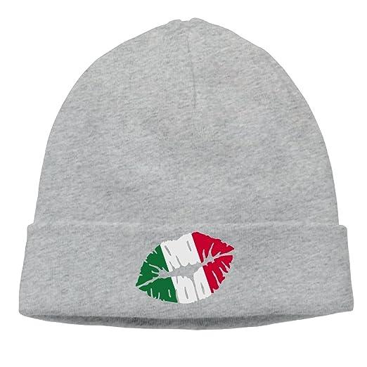 Unisex Italy Kiss Lips Flag Winter Beanie Hat Skull Cap at