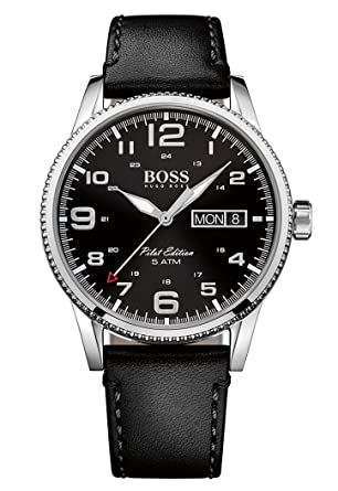 f75901c4a Hugo Boss Pilot Vintage 1513330 Black / Black Leather Analog Quartz Men's  Watch