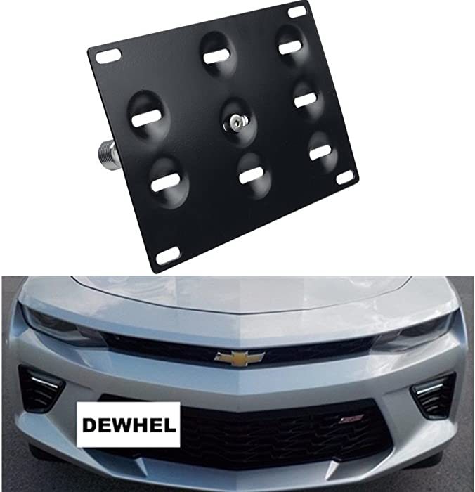 DEWHEL Front Bumper Tow Hook License Plate Mount Bracket Holder Bolt On No Drill Hole Aluminum Performance for 16-Up 6th Gen Chevrolet Camaro 2016 2017