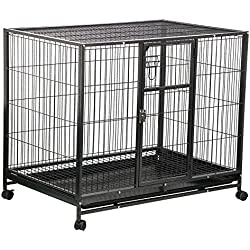 """Yaheetech Rolling 43"""" Wire Pet Crate Dog Cat Cage Exercise Playpen w/Tray Double Doors Metal Heavy Duty, Black"""