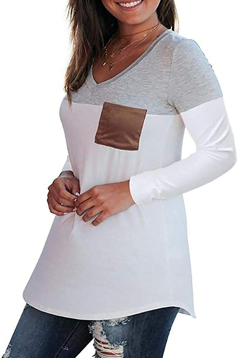 Sunywear Women V Neck Long Sleeve Patchwork with Pocket T-Shirt Casual Top Knits /& Tees S-5XL