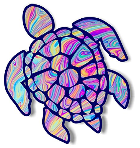 Vinyl Junkie Graphics 3 inch Sea Turtle Sticker for Laptops CupsTumblers Cars and Trucks Any Smooth Surface (Tye dye)]()