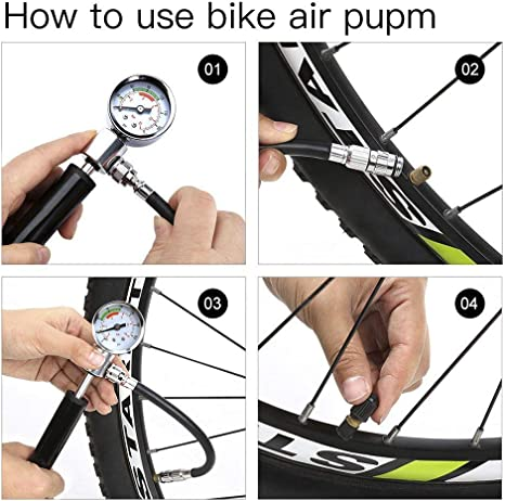 fylina 2 in1 Mini Bike Bomba, 210 PSI Luftpumpe portátil con manómetro, bicicleta bomba de alta presión manual, urltra de Light MTB Mountain Bike Bomba de aire, 3: Amazon.es: Deportes y aire libre