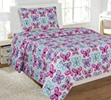 #7: Elegant Home Butterflies Pink Blue White Purple 3 Piece Printed Twin Sheet Set with Pillowcase Flat Fitted Sheet for Girls / Kids/ Teens # Butterfly Blue