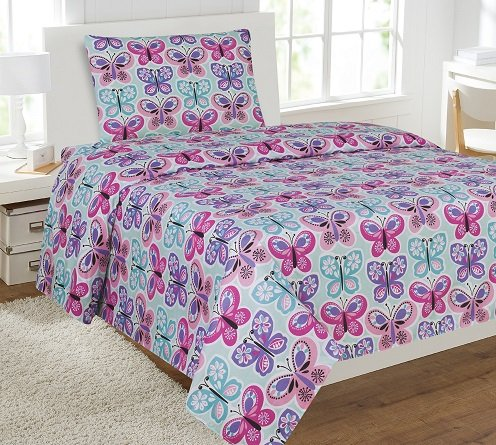 Elegant Home Butterflies Pink Blue White Purple 3 Piece Printed Twin Sheet Set with Pillowcase Flat Fitted Sheet for Girls / Kids/ Teens # Butterfly Blue