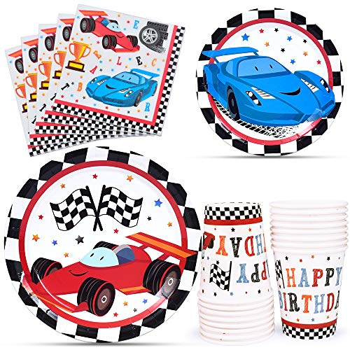 WERNNSAI Racing Car Party Supplies for Boys - Serves 16 Guests Disposable Party Tableware Kit Includes Paper Luncheon Dinner Dessert Cake Plates Napkins Cups Birthday Party Dinnerware