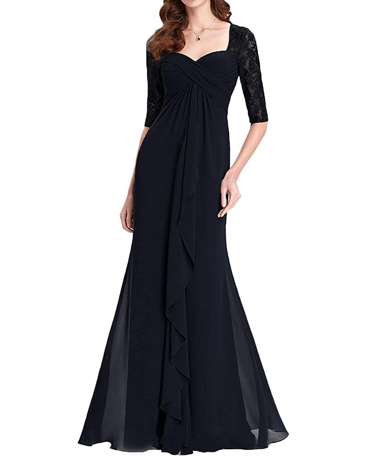 Black Womens Lace Mother of The Bride Dress Plus Size Long Formal Party Gown