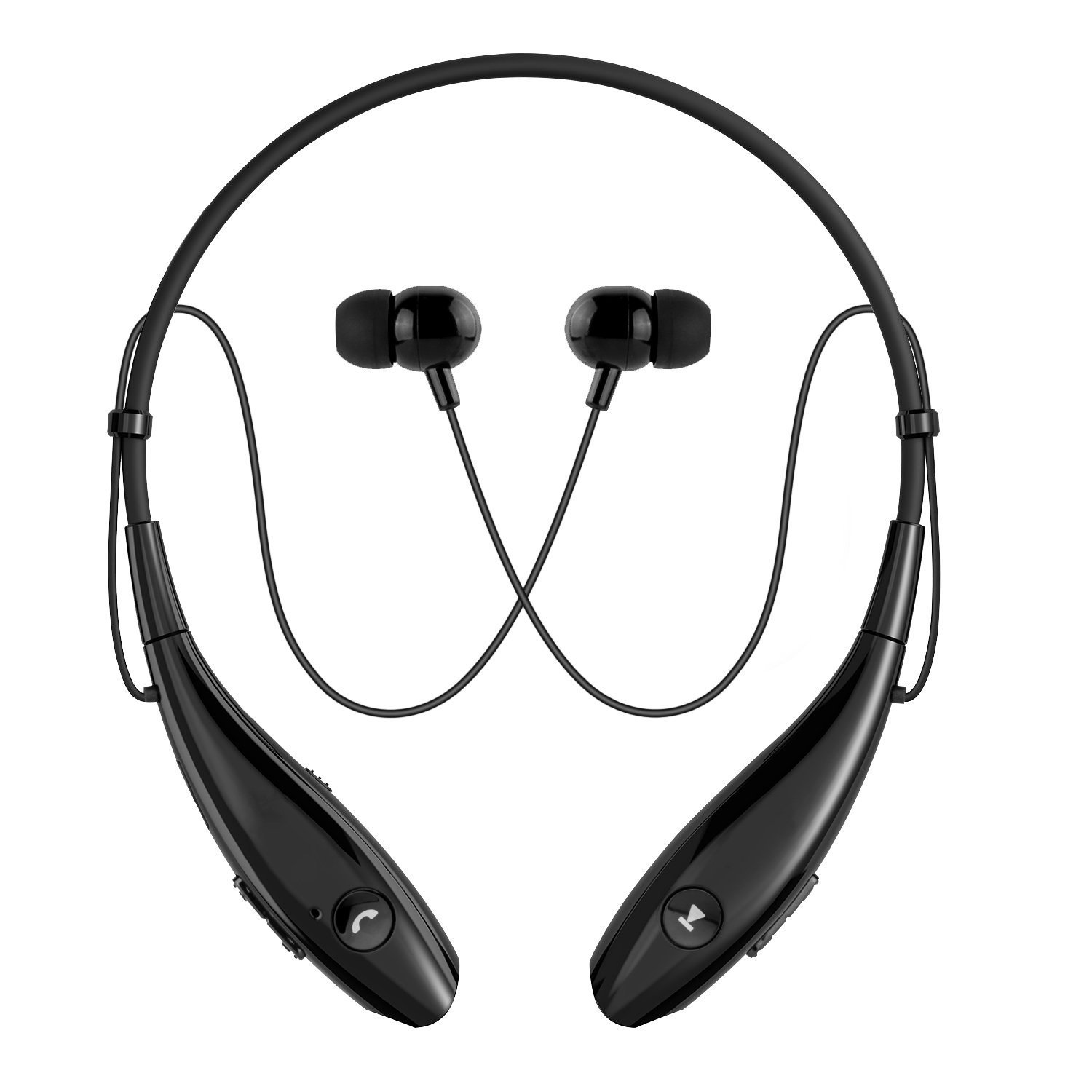 Bluetooth Headphones, SoundPEATS Wireless Headset Stereo Neckband Sport Earbuds with Mic (10 Hours Play Time, Bluetooth 4.1, Sweatproof) -Black