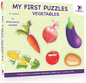 ToyKraft: My First Puzzles - Vegetables   2-3 Puzzles for 2-3 Year Olds   Chunky Puzzles   Toddler Matching Puzzles