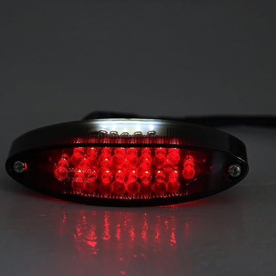 28LED Chopper para motocicletas ATV Luz trasera freno Stop placa de licencia lámpara humo: Amazon.es: Coche y moto