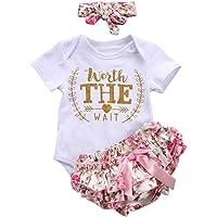 Counjunto de Ropa bebé niña Verano ❤️ Amlaiworld Recién Nacido bebé niñas Carta Floral Monos Verano Mameluco Tops y Pantalones Cortos Ropa Conjunto