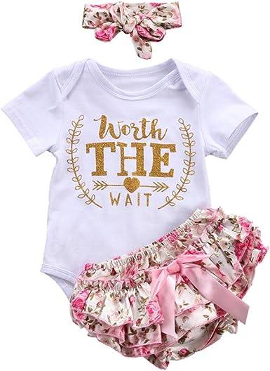Counjunto de Ropa bebé niña Verano Recién Nacido bebé niñas Carta Floral Monos Verano Mameluco Tops y Pantalones Cortos Ropa Conjunto (Blanco, Tamaño:0-3Mes): Amazon.es: Ropa y accesorios