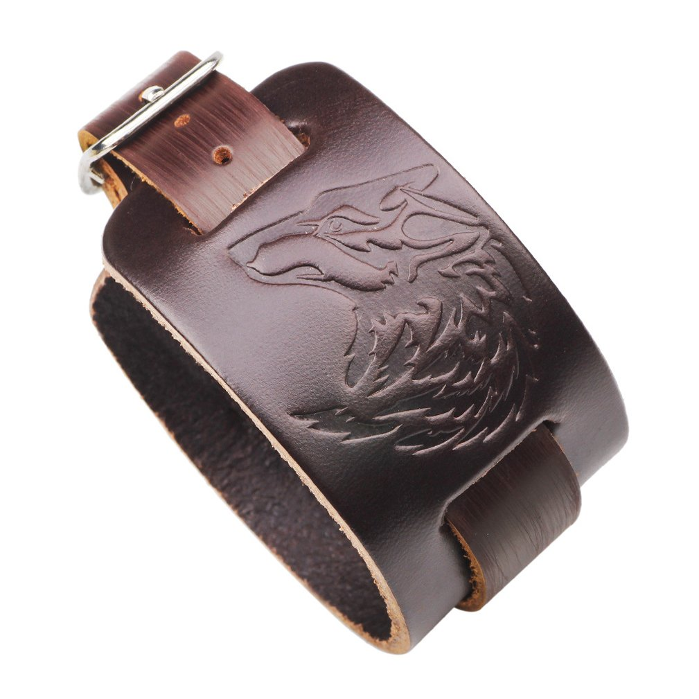 4EAELove Punk Style Leather Bracelet Genuine Leather Wolf Head Wristbands Bracelet Wide Belt Cuff Bangle by 4EAELove (Image #2)