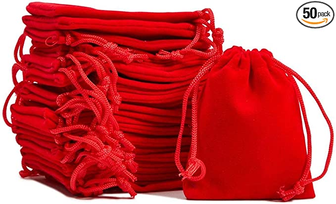 Red Velvet Drawstring Jewelry bagpouch  2.75 x 3.5 inch