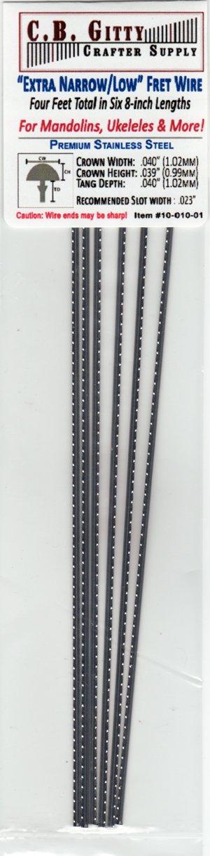 Mandolin/Ukelele Fret Wire - Jescar Extra Narrow/Low Stainless Steel - Four Feet C. B. Gitty Crafter Supply 4334222951
