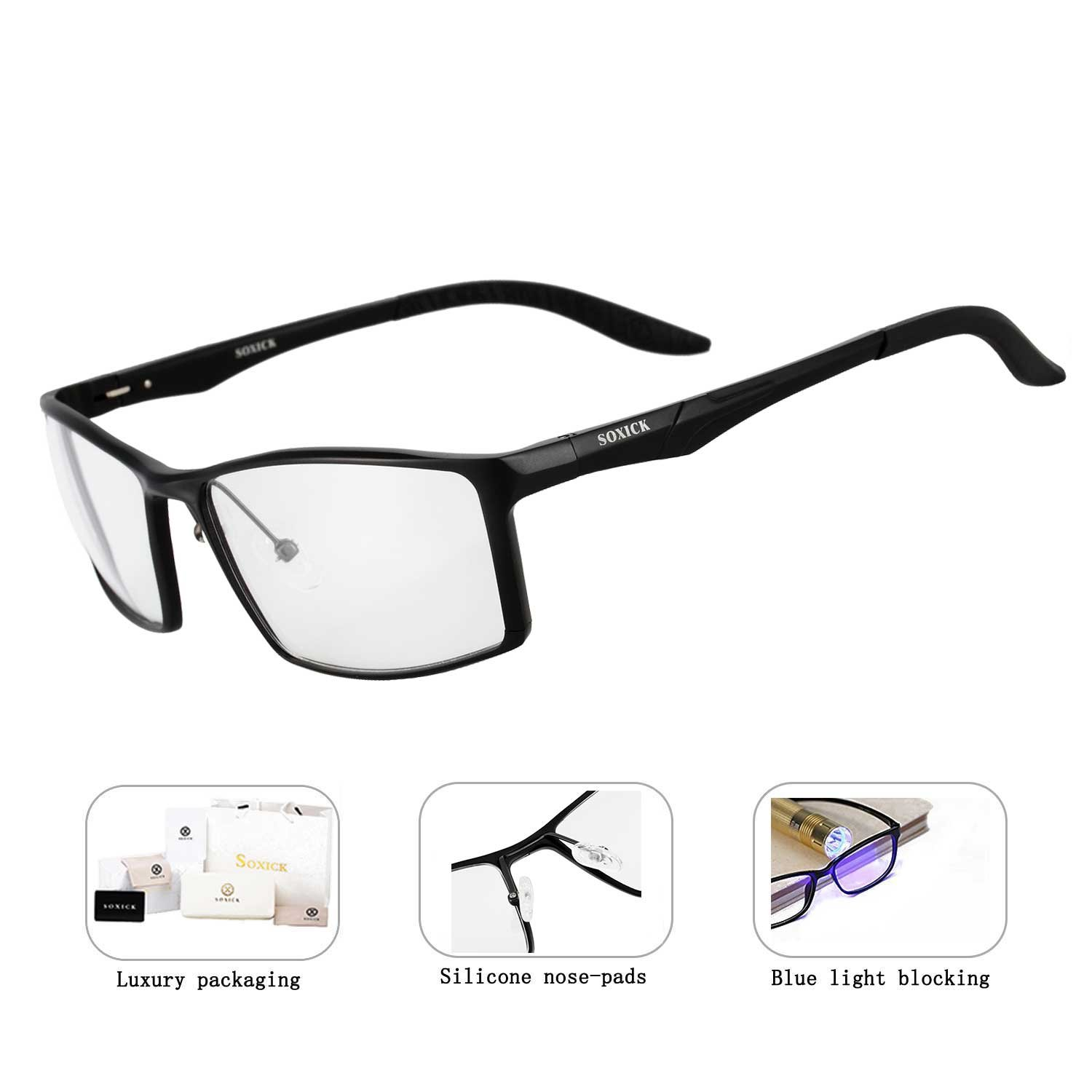 SOXICK Blue Light Blocking Anti-Glare Glasses for Professional Computer Games Monitor Screen Eye Strain Relief - Magnification 0.00 (XG2932)