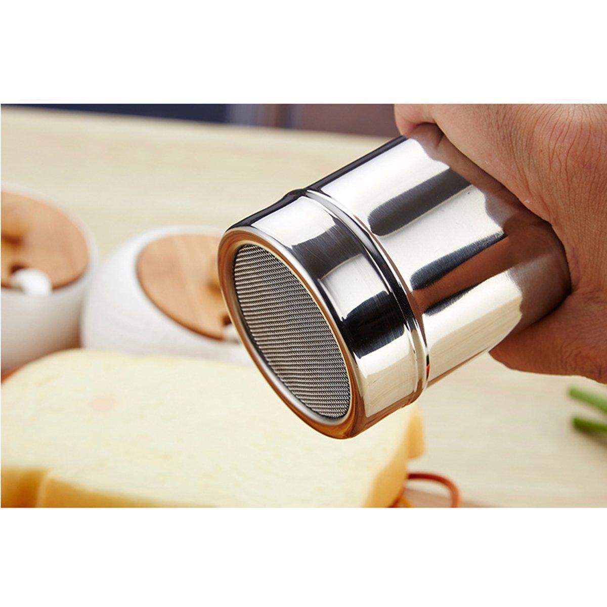 OUNONA 3 UNIDS de acero inoxidable de cocina dragas condimento pimienta Shaker dispensador de especias polvo de az/úcar harina de cacao condimento y especias tama/ño S