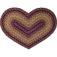 CWI Gifts IHF Home Decor 20 X 30 Braided Heart Shape Area Rug New Vintage Star Design Jute Fabric