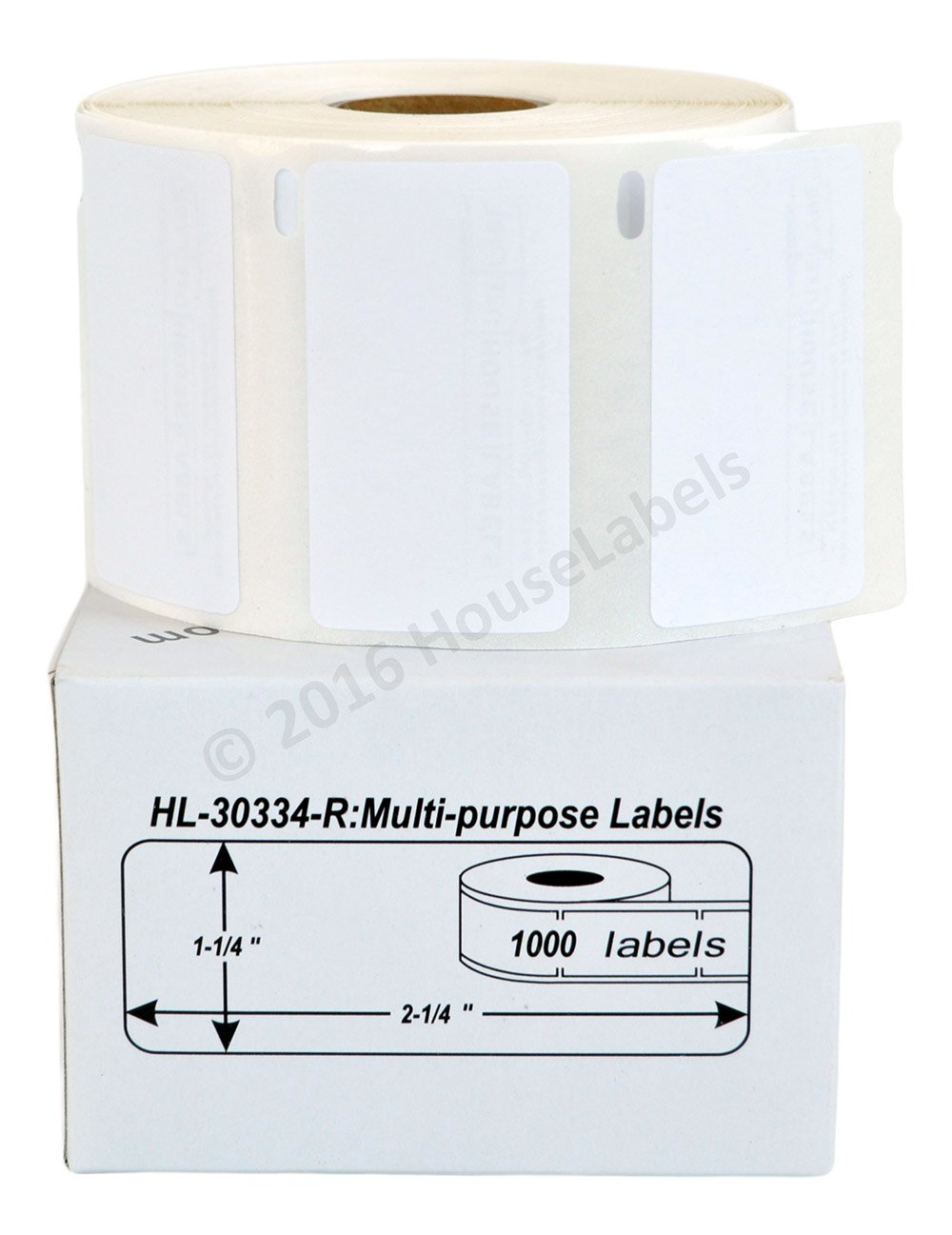 6 Rolls; 1,000 Labels per Roll of DYMO-Compatible 30334-R REMOVABLE Multipurpose Labels (2-1/4'' x 1-1/4'') - BPA Free! by HouseLabels (Image #1)