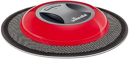 Vileda Virobi Slim - Mopa robot con sistema de autorotación y 2 programas de limpieza, apto para todo tipo de suelos e ideal para el pelo de mascotas, diseño ultrafino, color rojo: