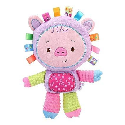 Bebés primer juguete, Aolvo suave dibujos animados bebé muñecas brillante Basics peluche cerdo pato elefante