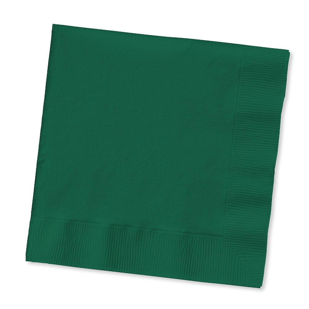Creative Converting Touch of Color 2-Ply 50 Count Paper Beverage Napkins, Hunter Green 803124B