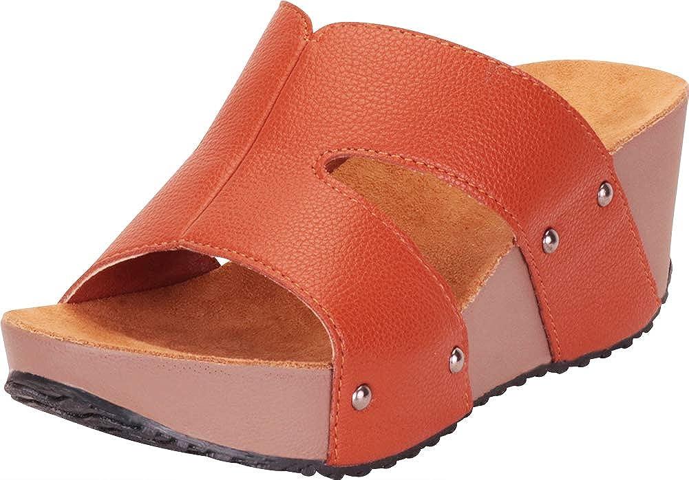 Brown Pu Cambridge Select Women's Open Toe Side Cutout Chunky Platform Wedge Slide Sandal