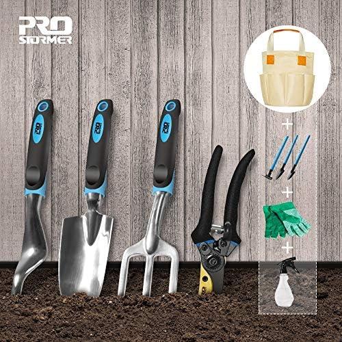HONIC Prostormer 10 PCS Gartenwerkzeug und Bonsai Schaufel Werkzeuge Set Gartenscheren mit Handschuhen Garten Geschenke mit Kelle Pruners