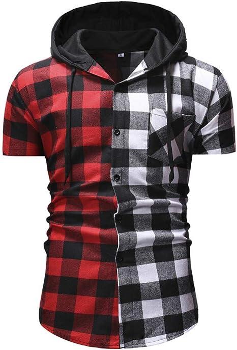 XJWDTX Camisa De Moda De Tela Escocesa para Hombres Camisa De Manga Corta con Capucha Color Block De Tela Escocesa para Hombres: Amazon.es: Deportes y aire libre
