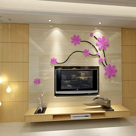 Amazon Com Acrylic Wall Stickers Tv Backdrop 3d Mirror Wall Stickers Bedroom Living Room Wall Diy Art Decor Waterproof Home Kitchen