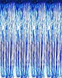 "Arts & Crafts : Set of 2 Blue Foil Fringe Door & Window Curtain Party Decoration 3' X 8' (36"" X 96"") ""Value Pack of 2"""