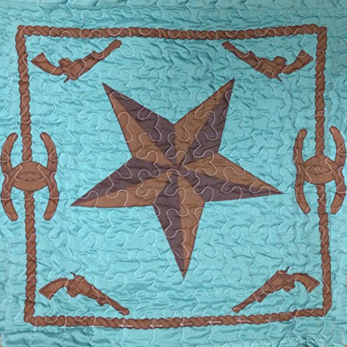 Western Peak 3 Pc Luxury Western Barb Wire Texas Lone Star Cabin Lodge Barbed Wire Luxury Quilt Bedspread Oversize Comforter (Queen, Turquoise) by Western Peak (Image #1)