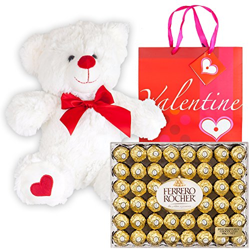 Ferrero Rocher Hazelnut Chocolates Diamond Box 48 Count | 12 Inch Teddy Bear Plush | Valentine D ...