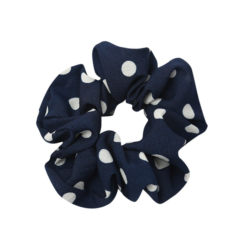 Women Boho Elastic Hair Rope Ring Tie Scrunchie Ponytail Holder Hair Band Headband (Blue2)
