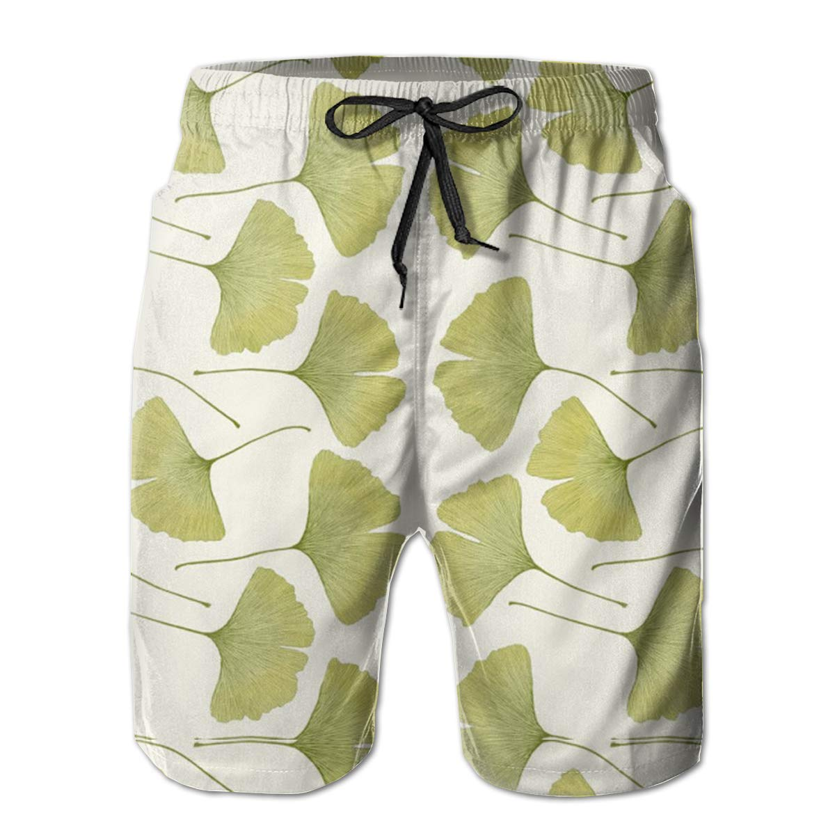 WMDJEG Green Ginko Leaves Mens Summer Beachwear Sports Running Swim Board Shorts Mesh Lining