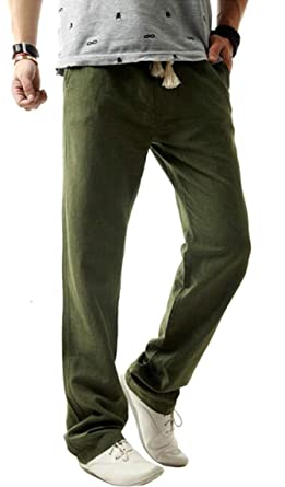 b81618ec65e Fensajomon Mens Casual Dress Cotton Linen Straight Leg Slim Fit Flat-Front  Pants at Amazon Men s Clothing store