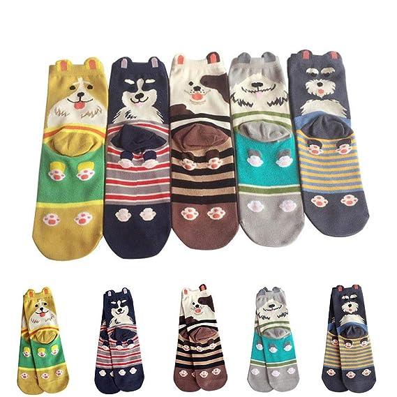 VJGOAL Mujeres moda casual de dibujos animados lindo perro de la raya de impresión cómodos calcetines