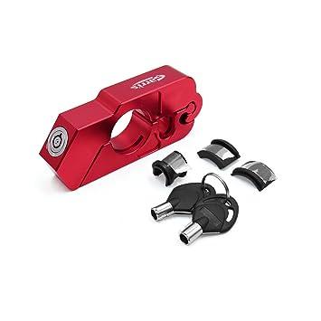 sourcingmap Red Motorcycle Handlebar Brake Lever Anti-theft Lock w 2 Key