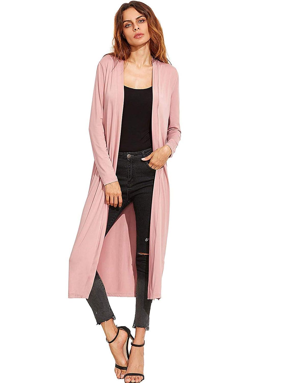 Verdusa Womens Long Sleeve Open Front Long Maxi Cardigan Longline Duster Coat