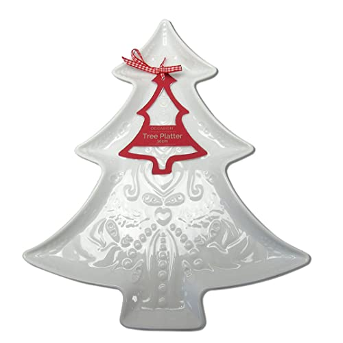 occasion shallow ceramic tree platter with embossed festive design 30cm