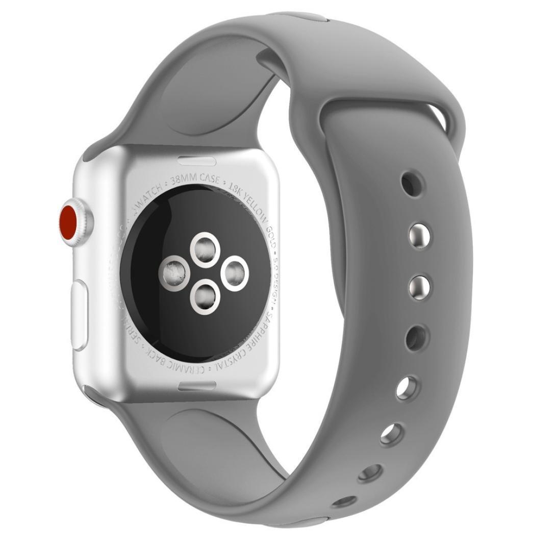 becolerソフトシリコン交換用時計バンドストラップfor Apple Watchシリーズ3 38 mm As show グレー グレー グレー B079318CYT