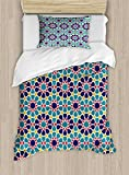 Ambesonne Arabian Duvet Cover Set Twin Size, Retro Illustration Nostalgic Arabesque Antique Geometric Star Baroque Motifs, Decorative 2 Piece Bedding Set with 1 Pillow Sham, Red Blue Yellow