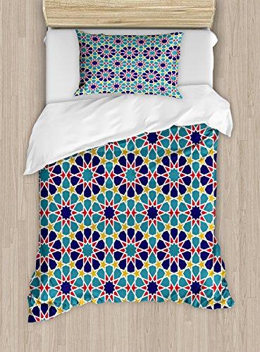 Ambesonne Arabian Duvet Cover Set Twin Size, Retro Illustration Nostalgic Arabesque Antique Geometric Star Baroque Motifs, Decorative 2 Piece Bedding Set with 1 Pillow Sham, Red Blue Yellow by Ambesonne