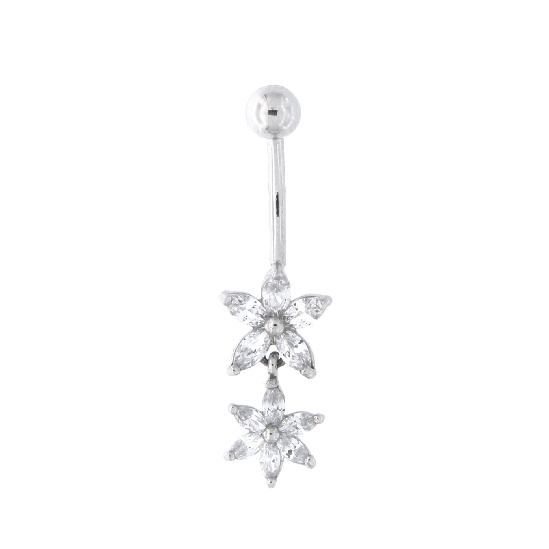 14k White Gold Cubic Zirconia Double Flower Dangle Belly Button Navel Ring