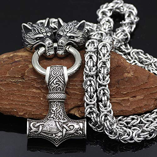 QZY Stainless Steel Chain - Viking Wolf Head with Thor's Hammer Mjolnir Wolf Pendant Necklace Men Amulet Thor Hammer Pendant Necklace Viking King Chain,Mjolnir,50